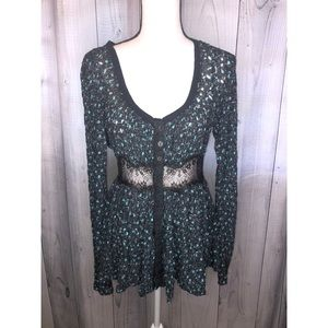 FREE PEOPLE Button Up Peplum Top Lace Waist V-Neck